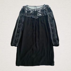 Alice Temperley Black Silk Mini Dress Embroidered